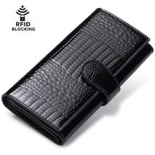 Jeeburyee женский кошелек Пояса из натуральной кожи RFID кошелек женский кошелек Длинные клатч держатель кредитной карты дамы trifold бумажник