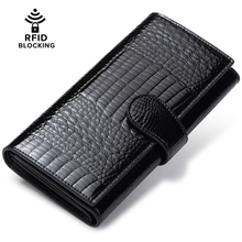 JEEBURYEE Womens Wallet Genuine Leather RFID Wallet Female Coin Purse Long Clutch Credit Card Holder Ladies Trifold Wallet