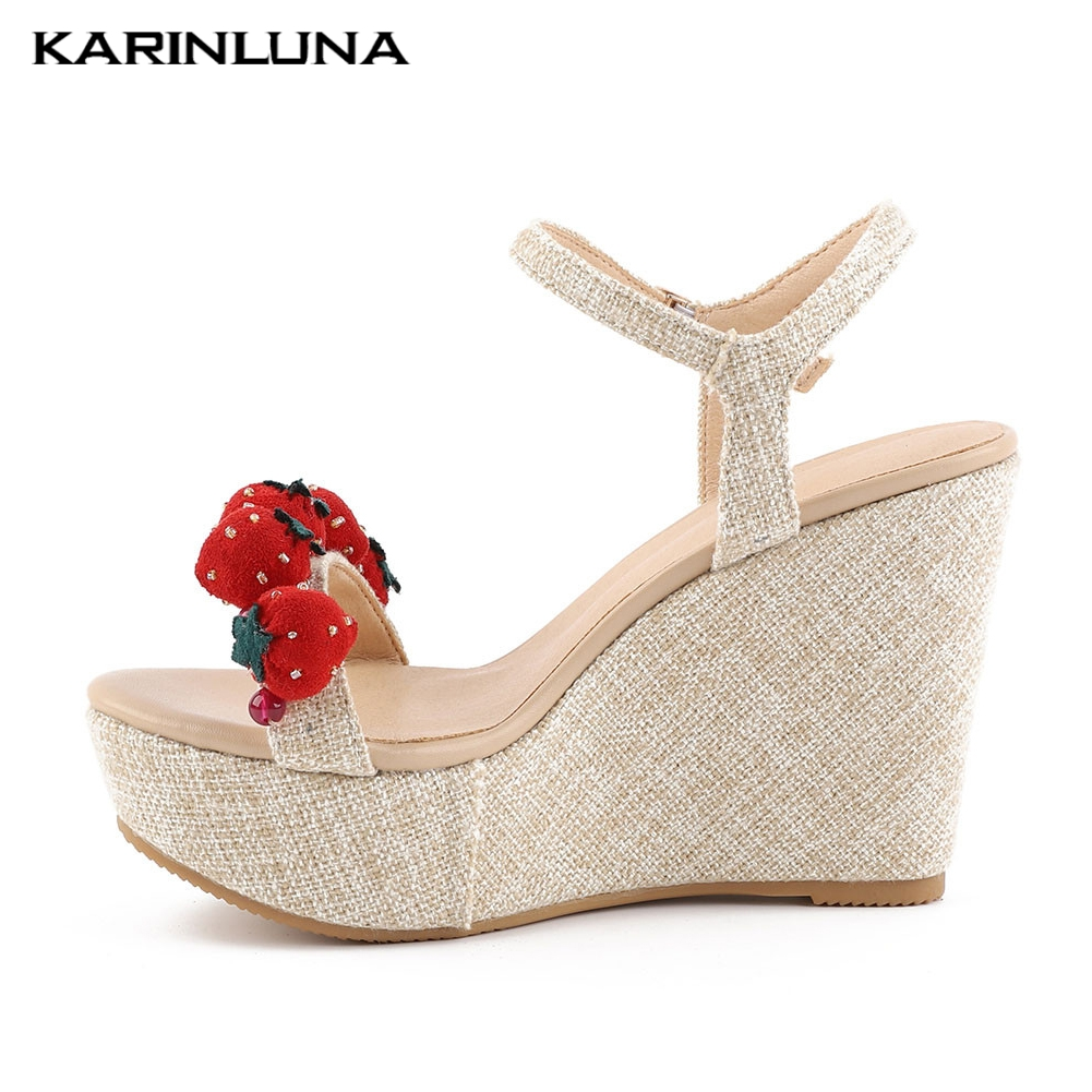 Sweet Strawberry Ladies Wedges High Heels Shoes Woman Casual Party Wedding Sexy Summer Sandals Woman 2019Sweet Strawberry Ladies Wedges High Heels Shoes Woman Casual Party Wedding Sexy Summer Sandals Woman 2019