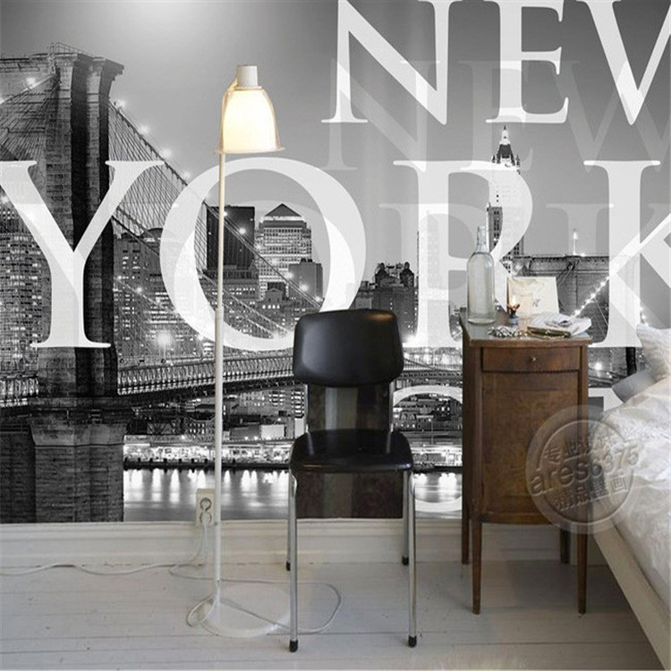 New york city photo wallpaper classic black white for Black and white wallpaper for bedroom