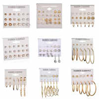 LETAPI Mode 12 paar/satz Frauen Erklärung Kristall Stud Ohrringe für Frauen Piercing Simulierte Perle Blume Ohrringe