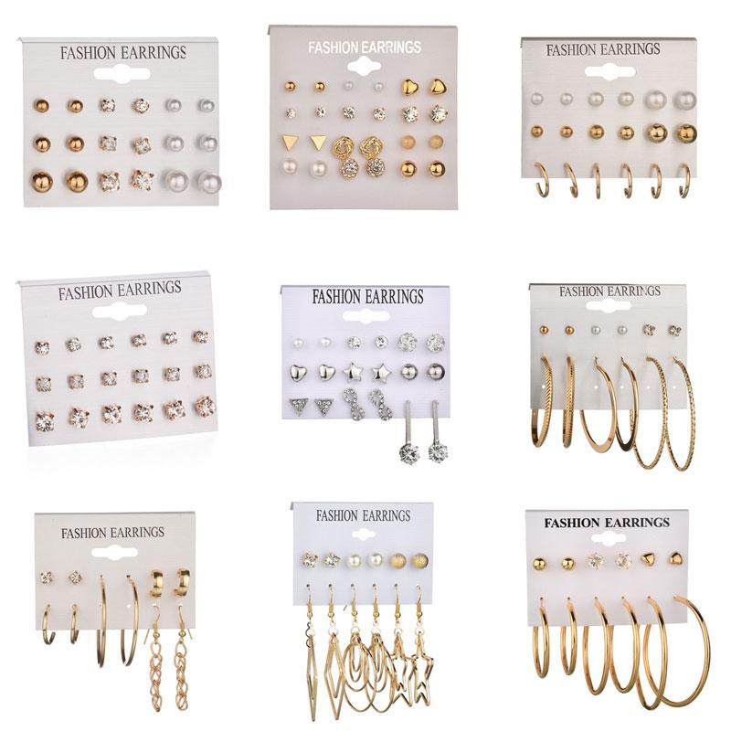 LETAPI Fashion 12 Pair/set Women Statement Crystal Stud Earrings For Women Piercing Simulated Pearl Flower Earrings