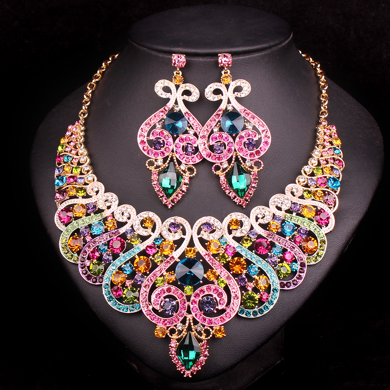 Fashion bridal jewelry sets wedding engagement necklace earring for fashion bridal jewelry sets wedding engagement necklace earring for bride party costume accessories indian jewellery sets women in bridal jewelry sets from junglespirit Image collections