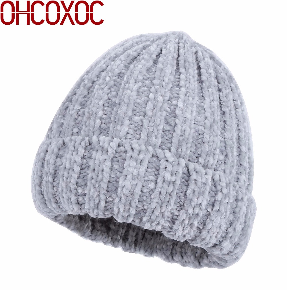 New Design Women Chenille Beanie Fashion Winter Hat Soft Skullies Warmer Gorrs Good Quality Solid Color Chenille Winter Hat