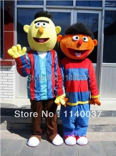 mascot 2pcs Sesame Street BERT ERNIE Mascot Costume BERT and ERNIE Adult Size Cartoon Character Mascotte