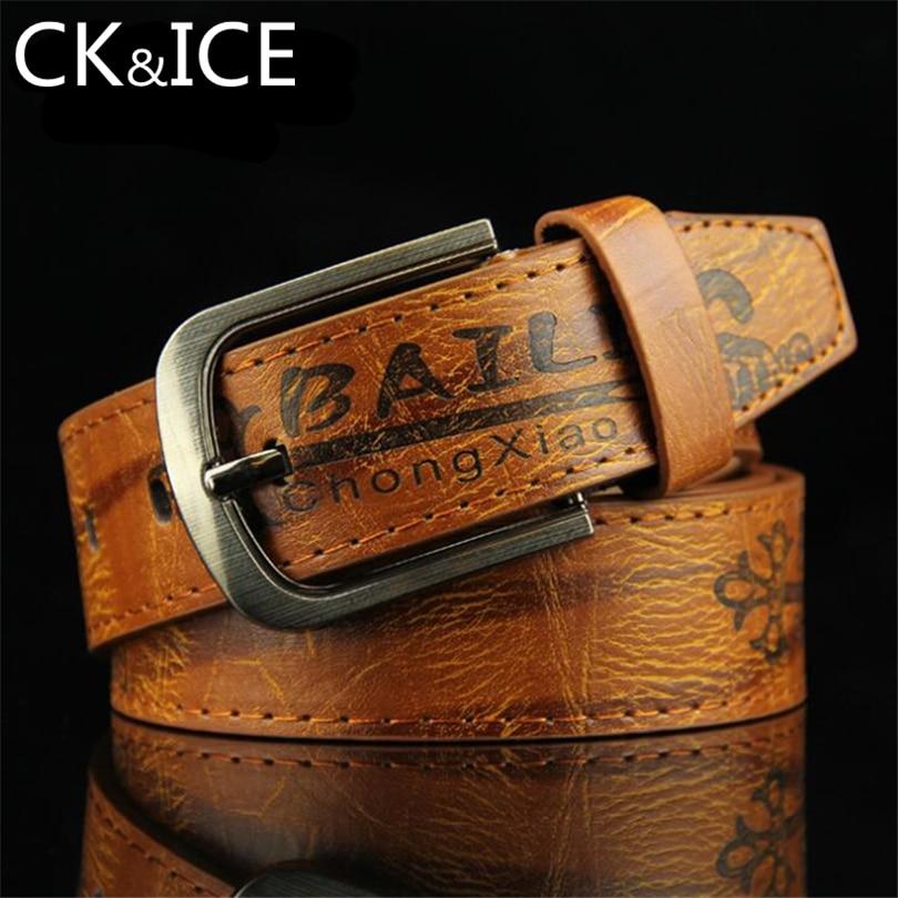 CK&ICE Faux Leather Belts For Men Vintage Element Male Pin Buckle Ceinture Belt Designer Printing Pattern Leather Belt Men