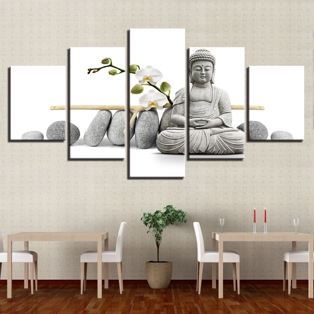 Canvas Painting Wall Art Home Decor Living Room 5 Piece Statue Of ...