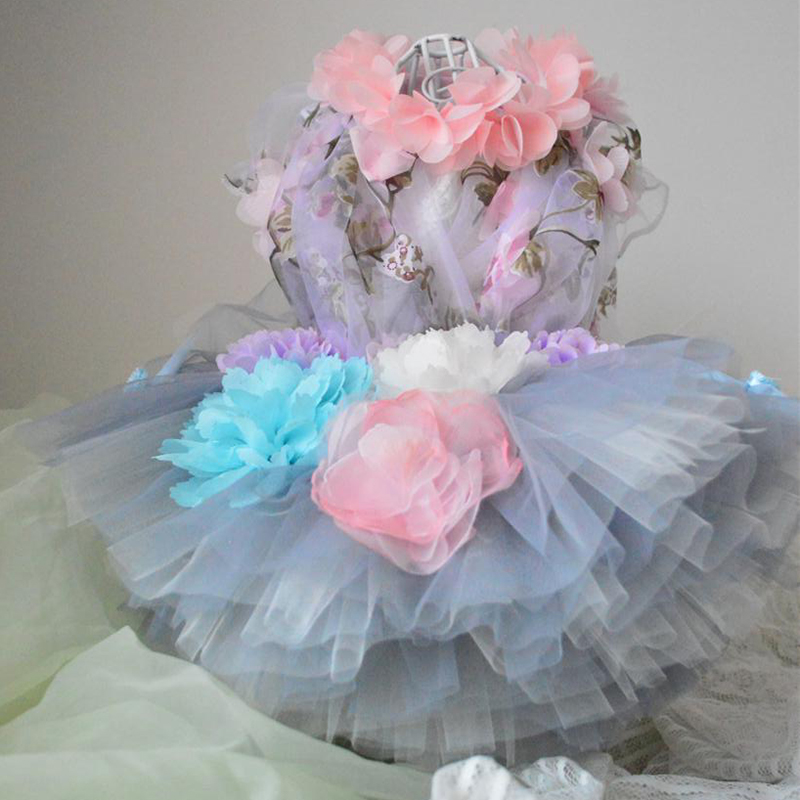 Pet Dog Dress Handmade Embroidery Flower Puppy Clothes Lace Princess Tutu Wedding Dresses For Small Dogs Skirt Chihuahua Poodle