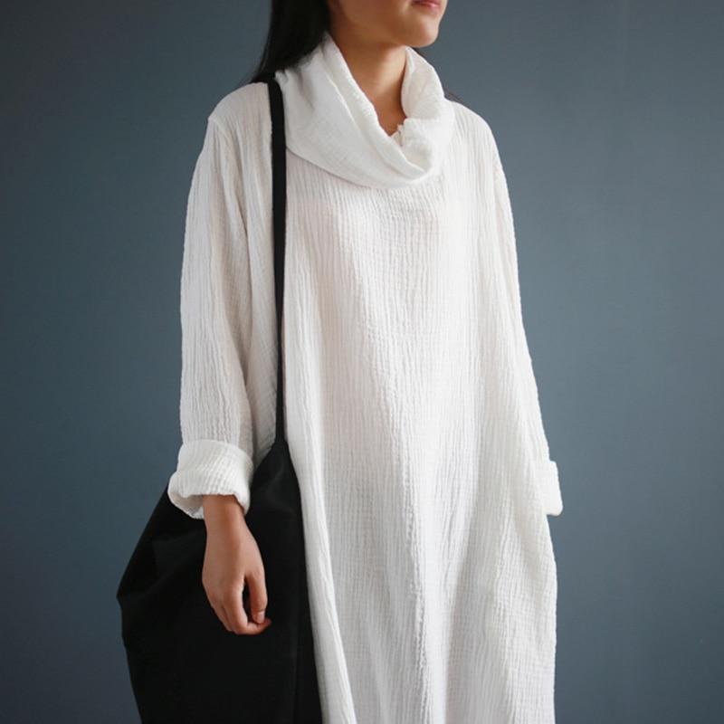 """""""SCUWLINEN 2019"""" pavasario rudens moteriška suknelė iš medvilnės nuimamos vėžliuko ilgomis rankovėmis Viso atitikimo laisvos pagrindinės ilgos medvilnės suknelės W03"""