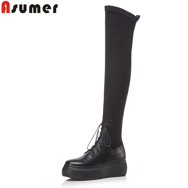 ASUMER 2018 fashion autumn winter boots women round toe zip stretch fabric+cow leather boots flat platform over the knee boots 2015 autumn shiny piece fight color stretch fabric square head women s boots flat boots in europe and america tide personality
