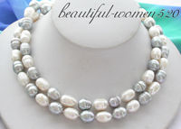 Z3721 32 13MM white gray rice FRESHWATER PEARL necklace