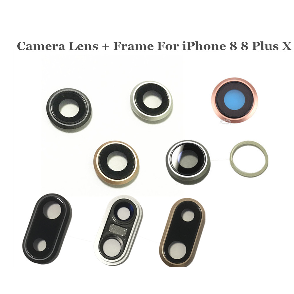 AYJ 1 Piece <font><b>Back</b></font> Rear Camera Lens with Frame For <font><b>iPhone</b></font> 7 <font><b>8</b></font> Plus X Main Camera Frame with <font><b>Glass</b></font> Replacement <font><b>Repair</b></font> Parts image
