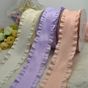 "1.5"" 38mm double ruffle ribbon hair bow accessory diy handmade materials ribbon"