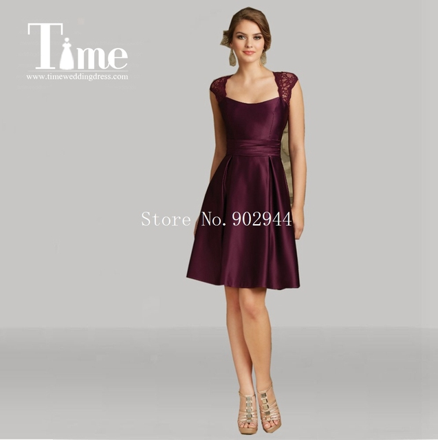 dark purple lace Bridesmaid Dresses 2015 lace cap sleeves above knee ...
