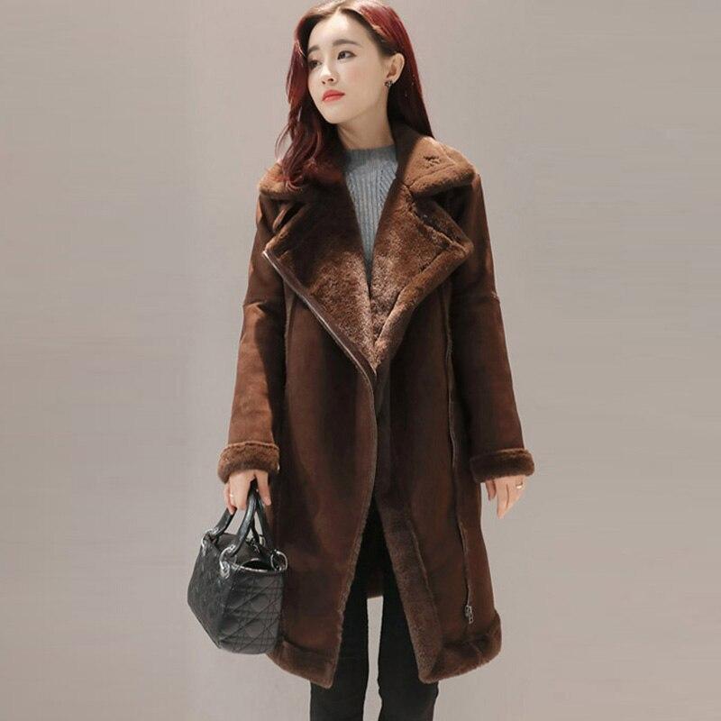 New Kaki coffee Chaud Parkas Femmes Épais Agneaux Veste Hiver 2017 Coton Suede Mode Yp0644 Color Laine Femme Mince Manteau De Manteaux 0wmNn8
