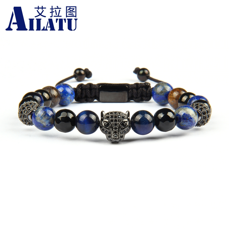 Ailatu New Micro Pave Black Cz Panther Leopard Macrame Bracelets with 8mm Natural Bronzite Beads Stainless