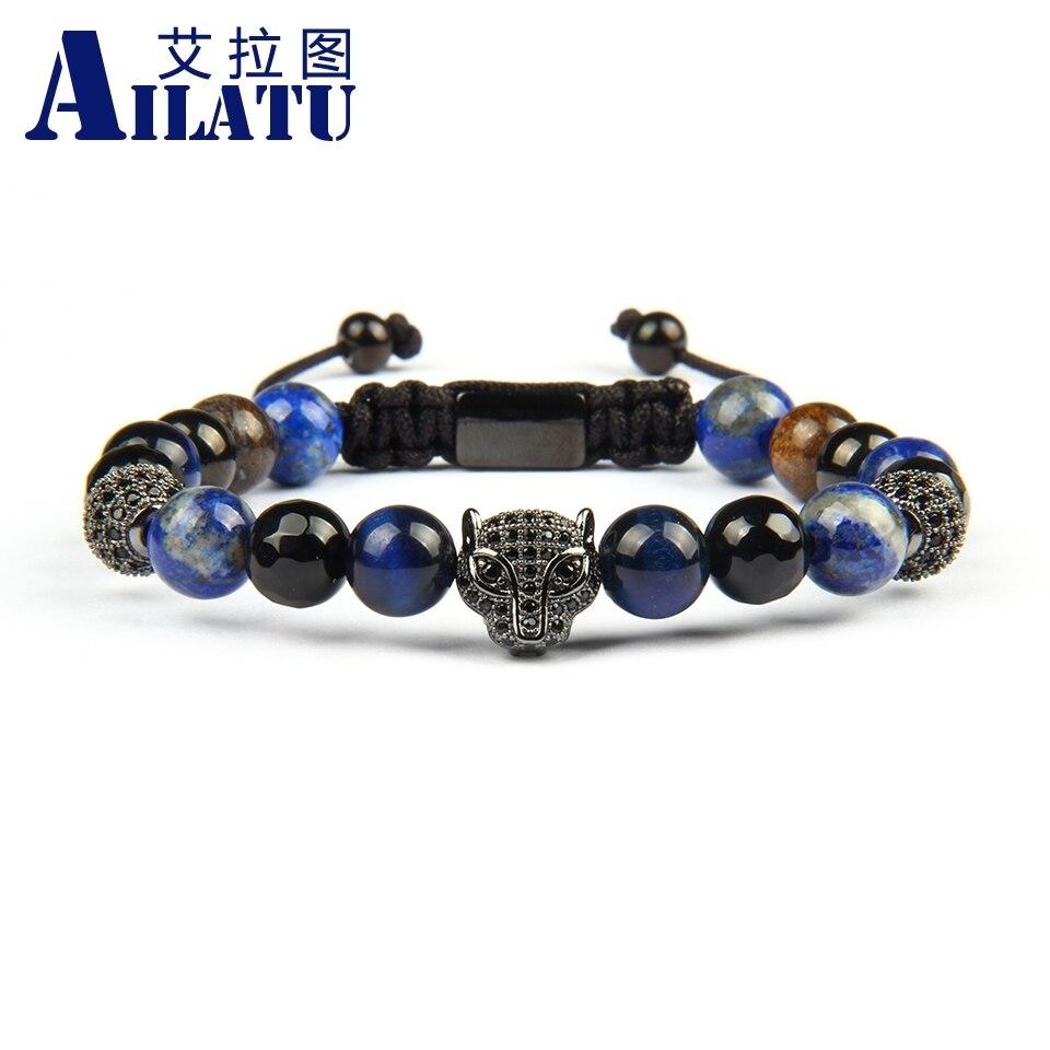 Ailatu nouveau Micro pavé noir Cz panthère léopard macramé Bracelets avec 8mm perles Bronzite naturelle bijoux en acier inoxydable-in Bracelets ficelle from Bijoux et Accessoires    1