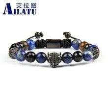 Ailatu novo micro pave preto cz pantera leopardo macrame pulseiras com 8mm natural braceletes bronzite jóias de aço inoxidável