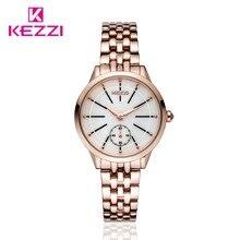 Новые Приходят KEZZI Просто Нет Цифровые Часы Уникальный Дизайн Вторая Рука Только Из Нержавеющей Стали женщины Часы Reloj Mujer 1454