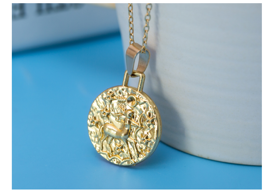 12 Constellation Jewelry Necklace Gold Virgo Libra Scorpio Sagittarius Capricorn Aquarius Zodiac Necklace Circle Pendant bijoux 15