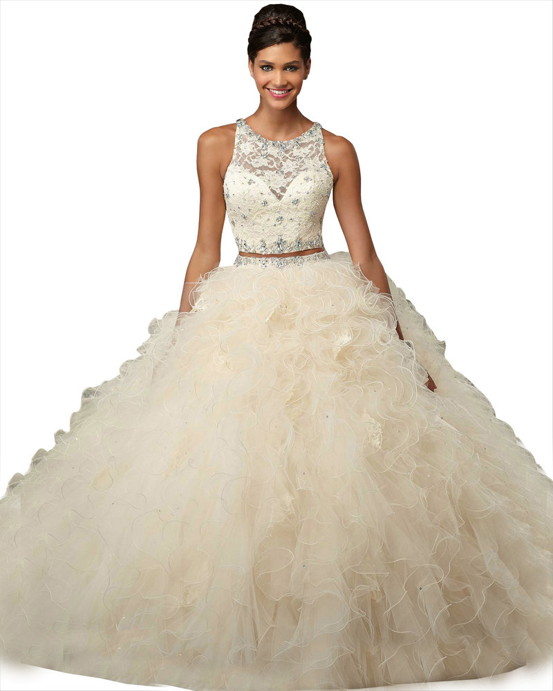 2 Piece Quinceanera Dresses Ball Gowns Coral Beige Tulle Lace ...
