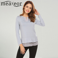 Meaneor Women Fashionable Round Collar Keyhole Long Sleeve T Shirt Patchwork Split Hem Casual 2018 Spring