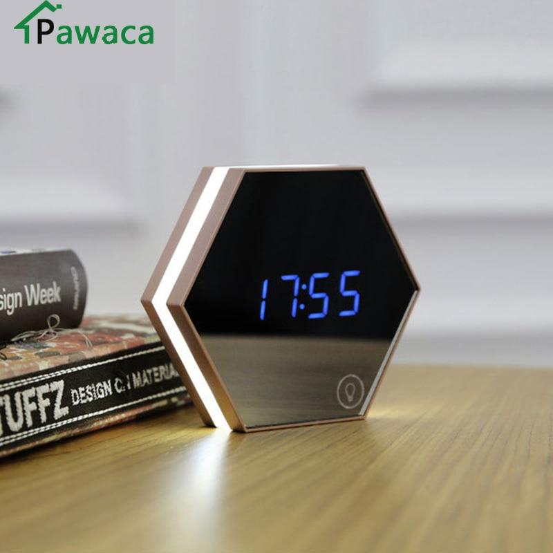 Новый электронный многофункциональный светодиодный ночник настенные часы зеркало цифровой Дисплей Будильник Повтор светоизлучающих термометр