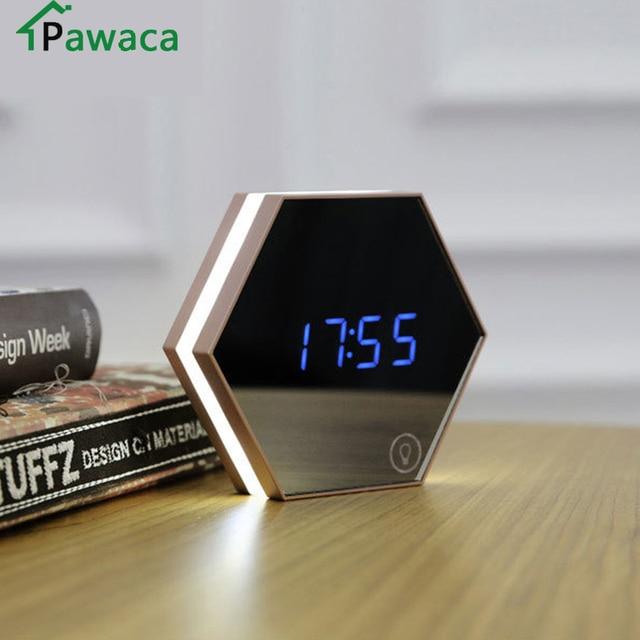 New Electronic Multifunction LED Night Light Wall Clock Mirror Digital Display Alarm Clock Snooze Light-emitting Thermometer