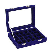 24 Slots Velvet Desk Jewelry Holder Storage Box Packaging Portable Ring Necklace Chain Case Rings Container Women Valentine Gift