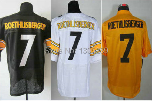 ac05c828c Pitt Ben Roethlisberger Jersey American Football  7 Yellow Black White Man  Size 40-56 Stitched On Tees Embroidery Logo Sewn On