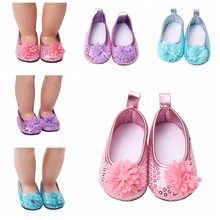 High Quality  Bling Loafers Shoes With Flowers For 18 Inch American Girl Generation Doll Accessories