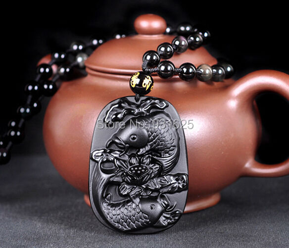 Wonderful Natural Real Black Obsidian Carved Fish Flower Lucky Pendant Free Necklace Blessing Pendants fashion Jewelry