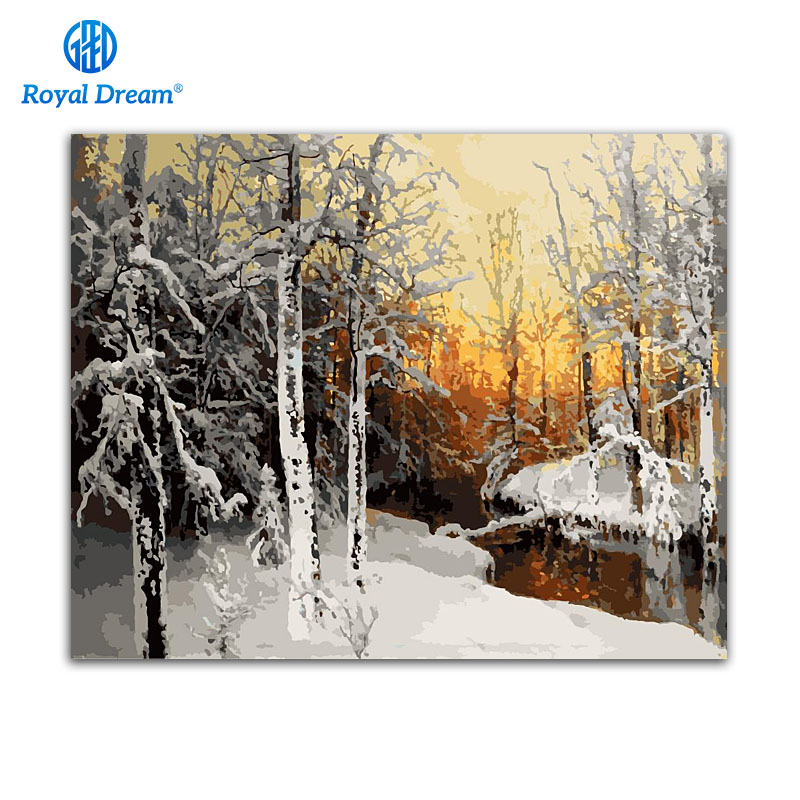Snowing River Forest Diy Coloring Picture By Numbers Painting Digital coloring Pictures For Living Room Drawing by number ...