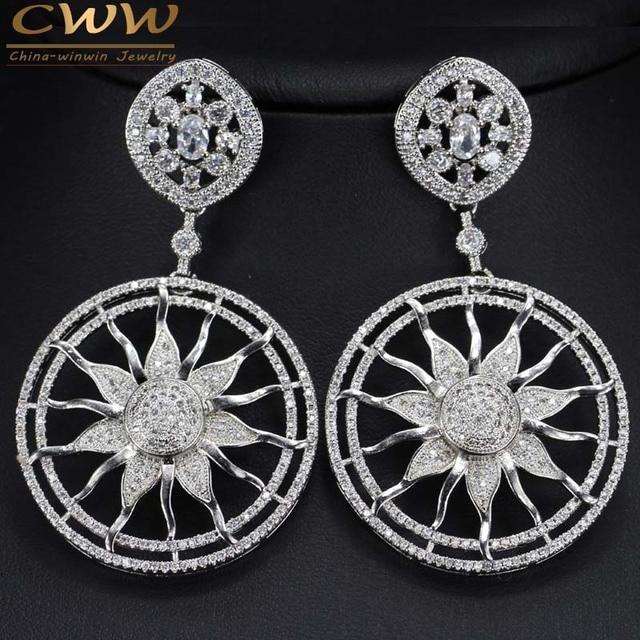 Luxury CWW Brand Platinum Plated Long Drop Dangle Sunmer Flower Women Earrings With Cubic Zirconia Crystal CZ344