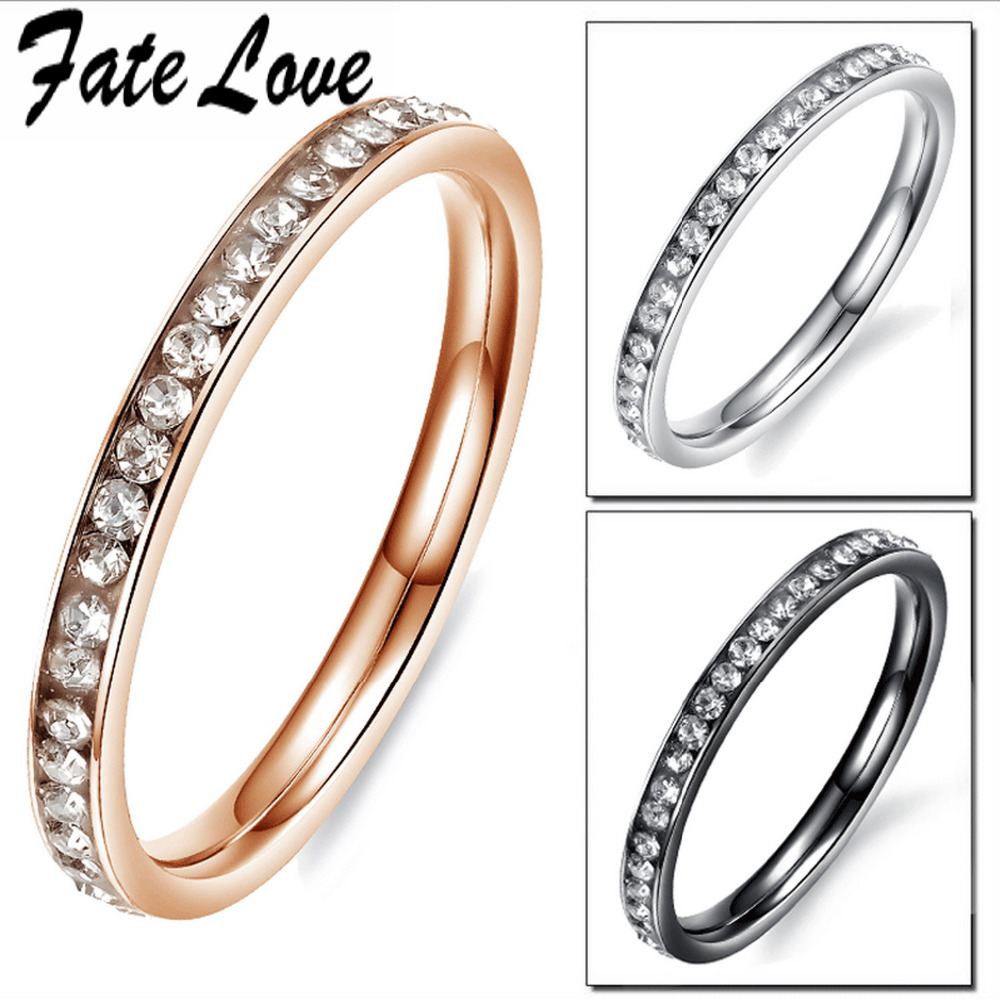 Fate Love Classic Luxury Elegant Stainless Steel Party Finger Rings Dazzle Cubic Zircon Round Ring Woman Fashion Jewelry FL447