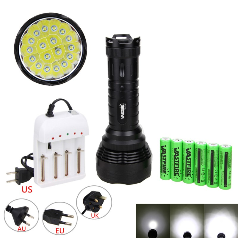 Super bright 5000LM 18x XM-L T6 LED 5 Modes Tactical Flashlight Hunting Torch Light with 6*18650+ Charger rechargeable 2000lm tactical cree xm l t6 led flashlight 5 modes 2 18650 battery dc car charger power adapter