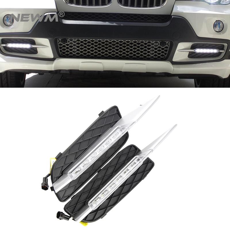 DRL For BMW X5 E70 2007 2008 2009 2010 Daytime Running Lights Daylight Car LED Fog head Lamp cover
