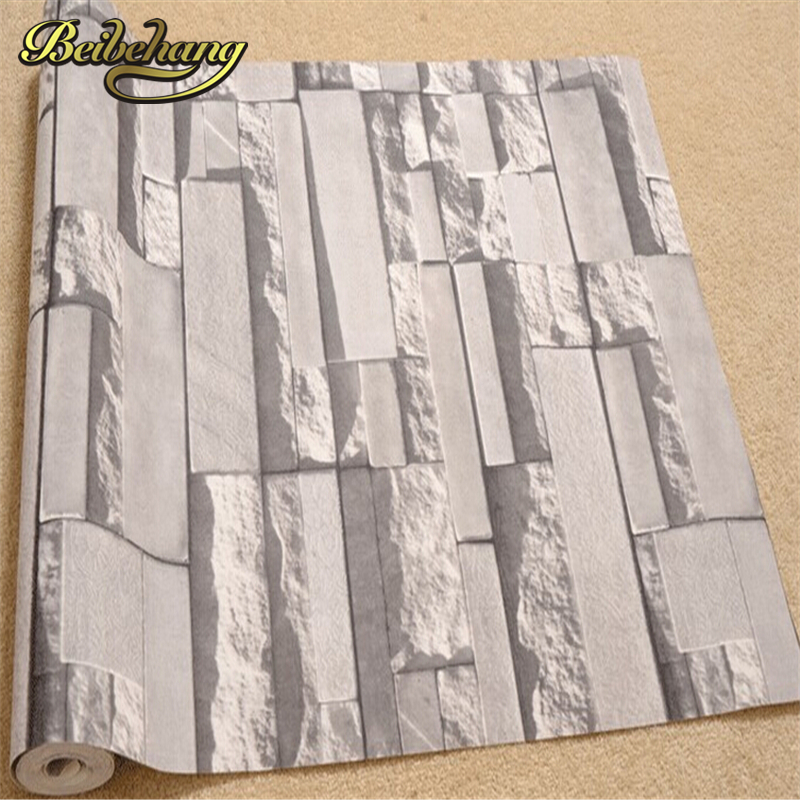 beibehang Luxury Stone Brick wall 10M Vinyl Wallpaper Roll papel de parede 3D Living Room Background Wall Decor Art Wall Paper купить