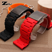 28mm silicone waterproof bracelet strap mens watchband DZ396/DZ7370/DZ428 rubber and stainless steel