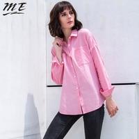 ME 2017 Women Autumn Spring Long Cotton Blouse Shirts Full Sleeve Split Lace Up Loose Blouse