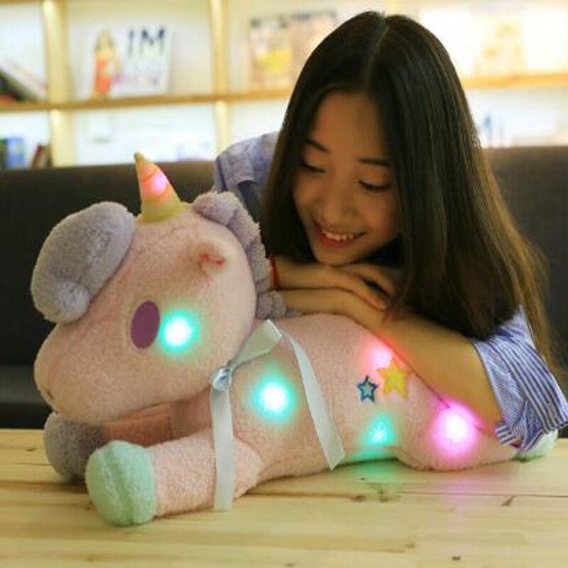 KAWO Bluetooth musique mignon belle anniversaire licorne en peluche poupée bébé peluche enfants jouets cadeaux d'anniversaire pour les amoureux rose bleu poupées