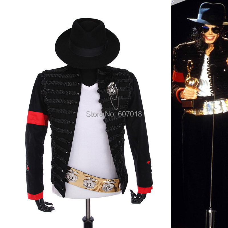 Редкие панк вечернее платье Классический Англия Стиль MJ Майкл Джексон костюм Военная Униформа куртка ремень шляпа для Вентиляторы имитато