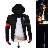 Rare PUNK Formal Dress Classic England Style MJ MICHAEL JACKSON Costume Military Jacket Belt Hat For