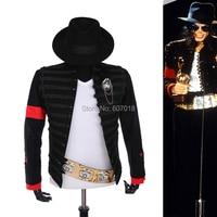 Rare PUNK Formal dress Classic England Style MJ MICHAEL JACKSON Costume Military Jacket Belt Hat For Fans Imitator Best Gift