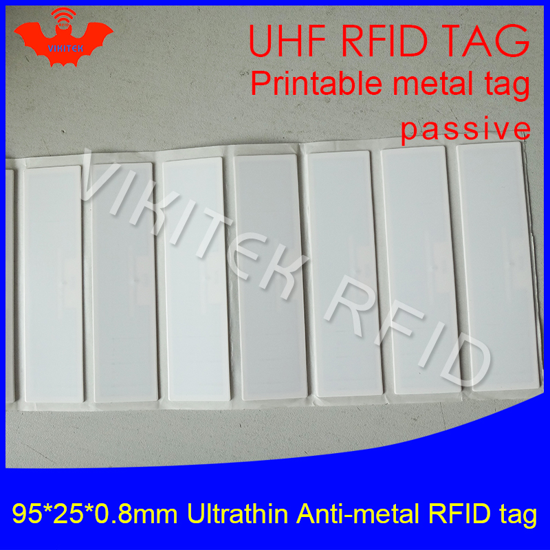 UHF RFID Ultrathin anti-metal tag 915mhz 868m Alien H3 EPCC1G2 ISO18000-6C fixed assets 95*25*0.8mm PET passive RFID PET Label 1000pcs long range rfid plastic seal tag alien h3 used for waste bin management and gas jar management