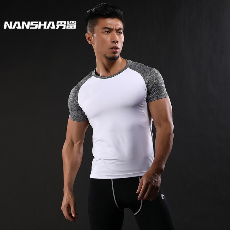 NANSHA de secado rápido Slim Fit Tees Hombres remiendo camisetas Camisa de compresión Tops Bodybuilding Fitness O-cuello de manga corta camiseta