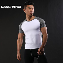 NANSHA Quick Dry Slim Fit Tees Men Patchwork T-Shirts Compression Shirt Tops Bodybuilding Fitness O-Neck Short Sleeve T Shirt(China)