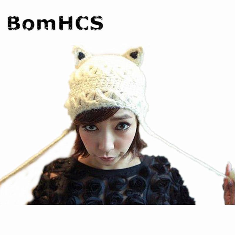 16141c4c534ce BomHCS Cute Winter Women s Thick Cable Handmade Knit Beanie Ear Muff Devil  Horns Cat Ear Cap Hat