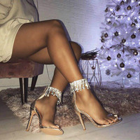 High Quality Gladiator PVC Transparent Luxury Diamond Tassel Rhinestone High Heel Sandals Sexy Summer Party Women
