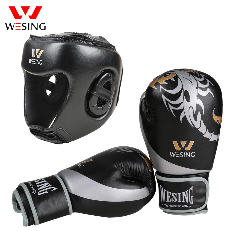 Wesing Boxing Gloves with Helmet 10oz Muay Thai Kickboxing Training Headguard Protection MMA Equipment все цены